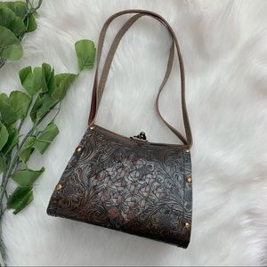 Vintage | Unbranded Hard Case Handbag Wood Leather